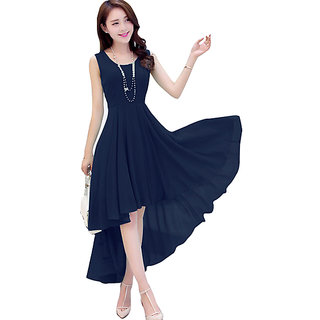 best sell fashion reasonable price Oooh Lady Fashion Georgette Navy Blue Up Down Dress
