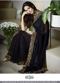 Srk Black Colour Georgette  Plain Border Work Saree KT-3214-a