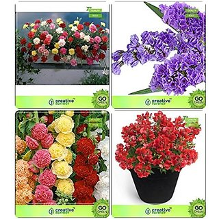 Flower Seeds : Flower Seed For All Season Combo Carnation , Statica, Hollyhock, Antirihinum Tom Garden Flower Seeds Pack By CreativeFarmer