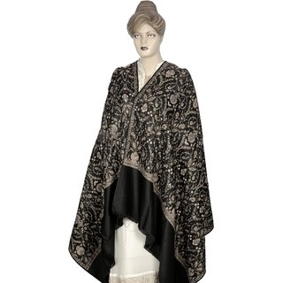 Saffanah Printed Cashmilon Winter Shawl  with Silk Work