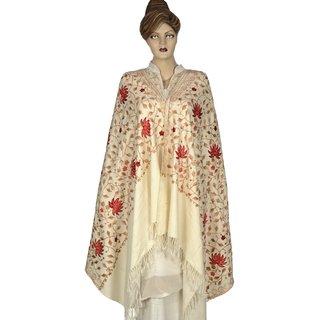 Saffanah   Aari  Work (Kashmiri) Woolen Shawl (Floral Print)