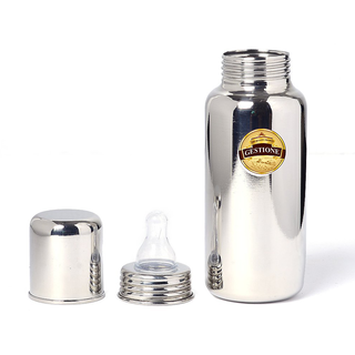 GESTIONE Stainless steel Baby Feeding Bottle Size 1(225 ml)- 304 Stainless Steel Body and Silicon Nipple /extra cap for