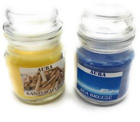 AuraDecor Set of 2 Jar Candles (Sea Breeze  Sandalwood)