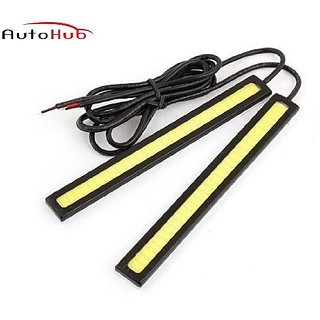 Auto Hub 12V Daytime Running Fancy Light For All Cars - White (Pack of Two)