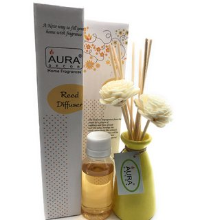 AuraDecor Reed Diffuser Gift set with Flower Reeds  50 ml Oil Citrus Fragrance (Life 6 months)