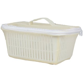 Rectangle Vegetables Fruit Basket with Cover ( Cream )