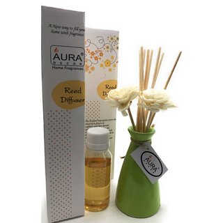 AuraDecor Reed Diffuser Gift set with Flower Reeds  50 ml Oil Meditation Fragrance (Life 6 months)