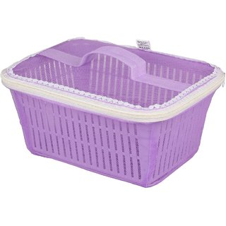 Rectangle Vegetables Fruit Basket with Cover ( Purple )
