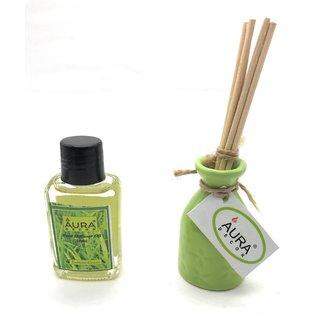 AuraDecor Reed Diffuser Lemongrass Fragrance (30 ml Oil  6 reed sticks)