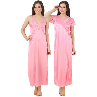 Buy Fasense Women Baby Pink Satin Nightwear Sleepwear 2 PCs Set of Nighty  Wrap Gown GT003 B Online - Get 56% Off baa311869
