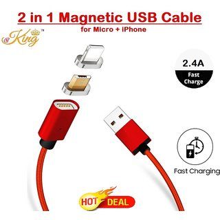 2 in 1 Magnetic USB Data Cable, 2.4A, Nylon Breade for Android  Micro USB + IOS i Phone