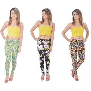 (PACK OF 3) TSL Printed Leggings for Womens-FREE SIZE- Multi Color/Pattern
