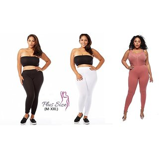 b8100392894 Buy (PACK OF 5) Plus Size Plain Leggings for Womens and Girls - (M-XXL) -  Multi-Color Online - Get 56% Off