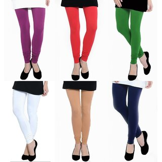 TSL Womens Multi Color Cotton Lycra Leggings-Pack of 6 MULTI-COLOR