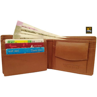 wallets for men in tan color Genuine leather 6 card slots(wenzest)