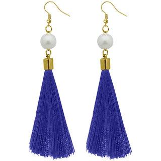 JewelMaze  Blue Thread Gold Plated Tassel Earrings