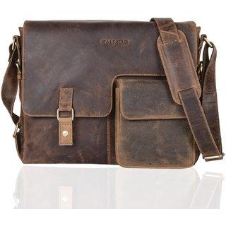 Calfnero Men Leather Portfolio Messenger Briefcase Bag