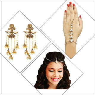 Meia Gold Plated Designer 1 Maang Tikka 1 Hand Harness 1 Earrings For Women