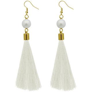 JewelMaze White Thread Gold Plated Tassel Earrings