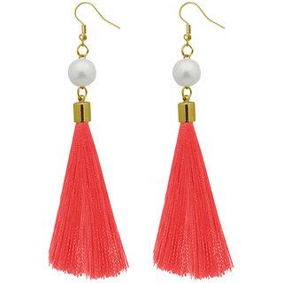 JewelMaze Peach Thread Gold Plated Tassel Earrings