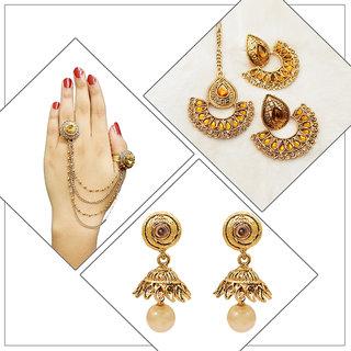 Meia Gold Plated Designer 1 Earring with Maang Tikka 1 Jhumki Earrings 1 Hand Harness For Women