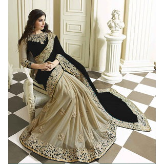Black Lycra Georgette Embroidery Designer Saree with Blouse