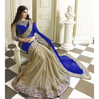 Blue Lycra Georgette Embroidery Designer Saree with Blouse