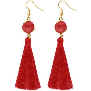 JewelMaze Red Thread Gold Plated Tassel Earrings