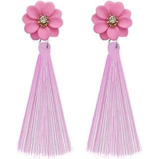 JewelMaze Pink Thread Gold Plated Tassel Earrings