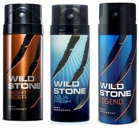 Wild Stone Night Rider Aqua Fresh and Legend Deodorant Spray  Pack of 3 Combo 150ML each 450ML