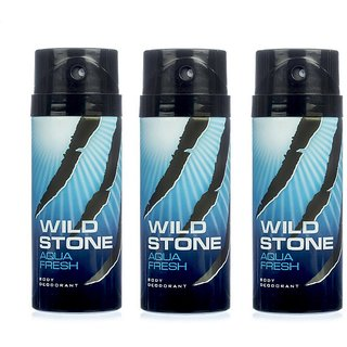 Wild Stone Aqua Fresh Deodorant Spray  Pack of 3 Combo 150ML each 450ML