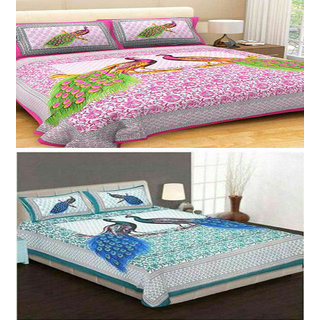 WI International Beautiful Cotton Jaipuri Printed Set Of Two Double Bed Sheet With Four Pillow Cover