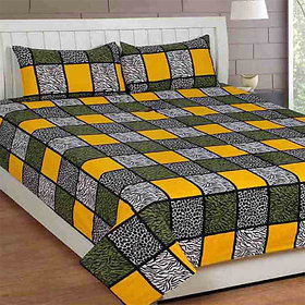 The Intellect Bazaar 160 TC Cotton King Fitted Elastic Bedsheet With 2 Pillow Covers,Yellow (150*225cms)