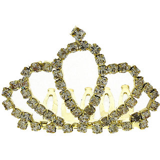Anuradha Art Gold Finish Studded Sparkling Stone Stylish Designer Crown/Tiara For Women/Girls