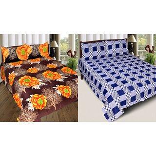 Beautiful floral 3d combo Polycotton 2 double bedsheet with 4 pillow cover