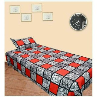AMAYRA COTTON SINGLE BEDSHEET WITH 1 PILLOW COVER, CHECKERED DESIGN