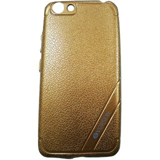 Brown Leather Look High Quality Premium Back Cover Case For OPPO A57