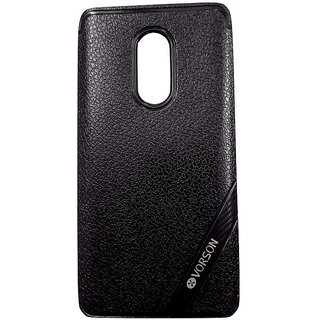 Black Leather Look High Quality Premium Back Cover Case For REDMI NOTE 4
