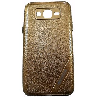 Brown Leather Look High Quality Premium Back Cover Case For Samsung Galaxy J2 (2015 MODEL J200G)