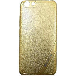 Golden Leather Look High Quality Premium Back Cover Case For OPPO F1s
