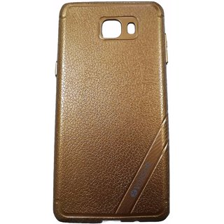 Brown Leather Look High Quality Premium Back Cover Case For Samsung Galaxy J7 PRIME
