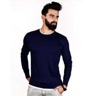 The Royal Swag Men's Cotton Full Sleeve Tshirt- Oxford Blue Crew Neck
