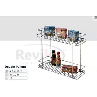 double pullout kitchen basket ( 8-20-17 inch ) stainless steel basket