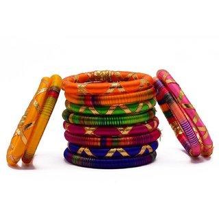 Stylish  Elegant Multi-Color Silk Thread Bangle Set with Zari  Gota Work For Girls  Women