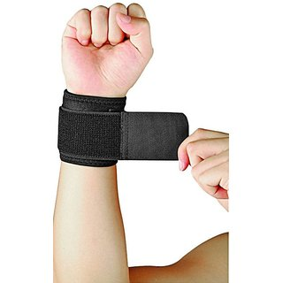 DreamPalace India GYM WRIST BAND Wrist Support (Free Size Black)