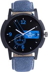 Luxury Round Dial Blue Leather Strap Men SCK Quartz Wat