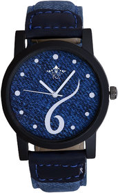 Awesome Round Dial Blue Leather Strap Men SCK Quartz Wa