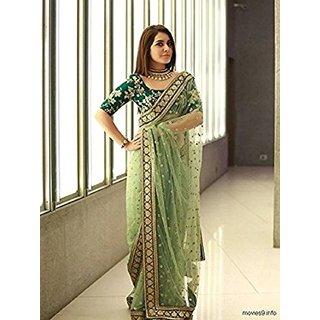 Women's Green Net Saree Sari With Blouse Piece