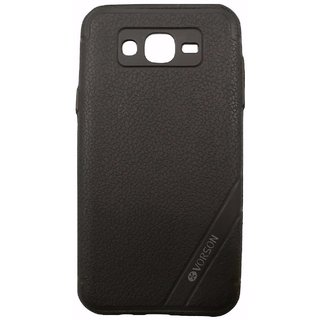 Black Leather Look High Quality Premium Back Cover Case For Samsung Galaxy J7 (2015 MODEL J700F)
