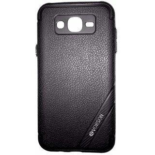 Black Luxury Look Back Cover Case For Samsung Galaxy J7 (2015 MODEL J700F)